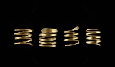 Conjunto de aneis de ouro espiral